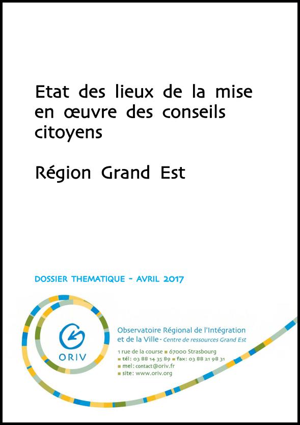 Etat des lieux de la mise en œuvre des conseils citoyens. Région Grand Est