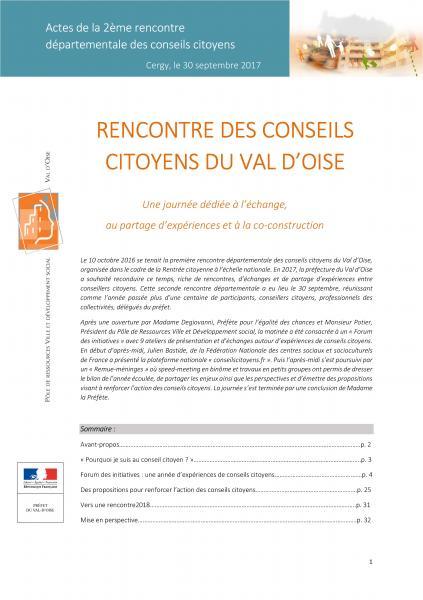 Actes de la Rencontre des conseillers citoyens en Val d'Oise – Édition 2017