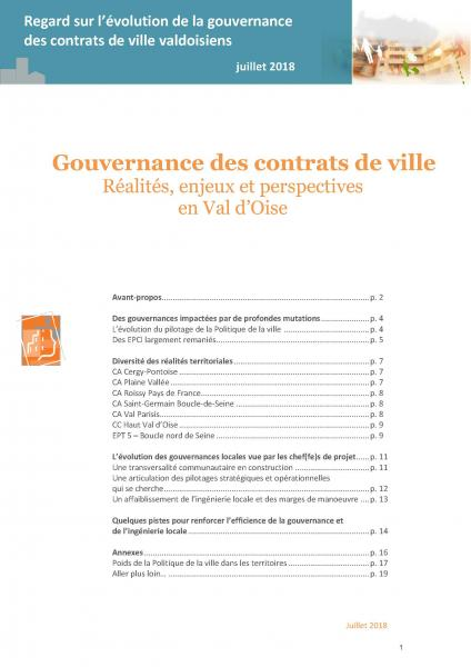 Gouvernance des contrats de ville. Réalités, enjeux et perspectives en Val d'Oise