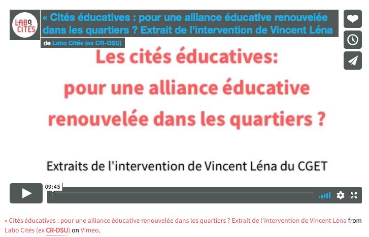 «Cités éducatives : pour une alliance éducative renouvelée dans les quartiers ?». Intervention de Vincent Léna et débat