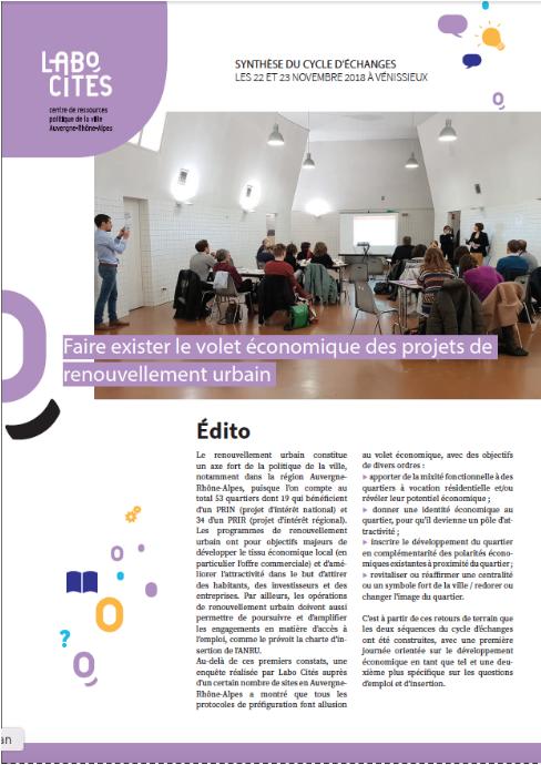 Synthèse du cycle d'échanges «Faire exister le volet économique des projets de renouvellement urbain»