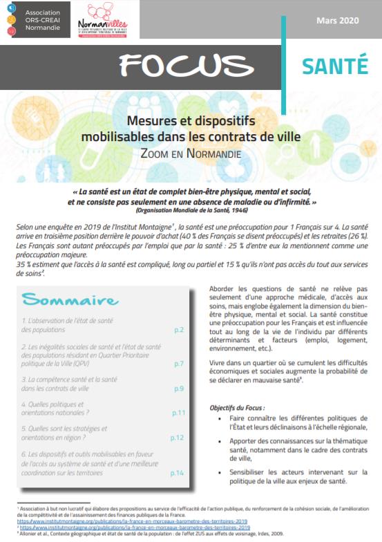 Focus Santé. Mesures et dispositifs mobilisables dans les contrats de ville – Zoom en Normandie