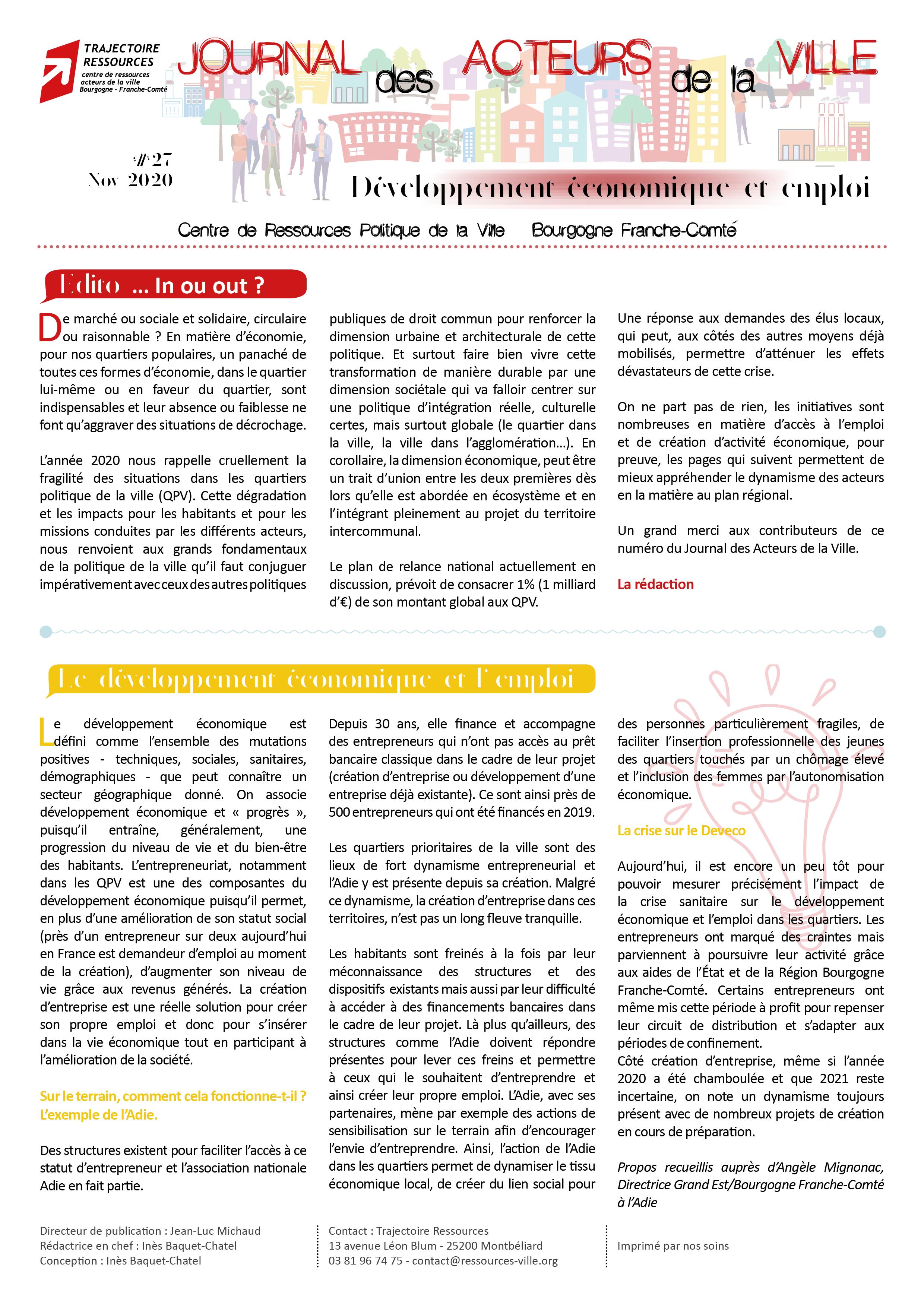 Journal des acteurs de la ville : Développement économique et emploi