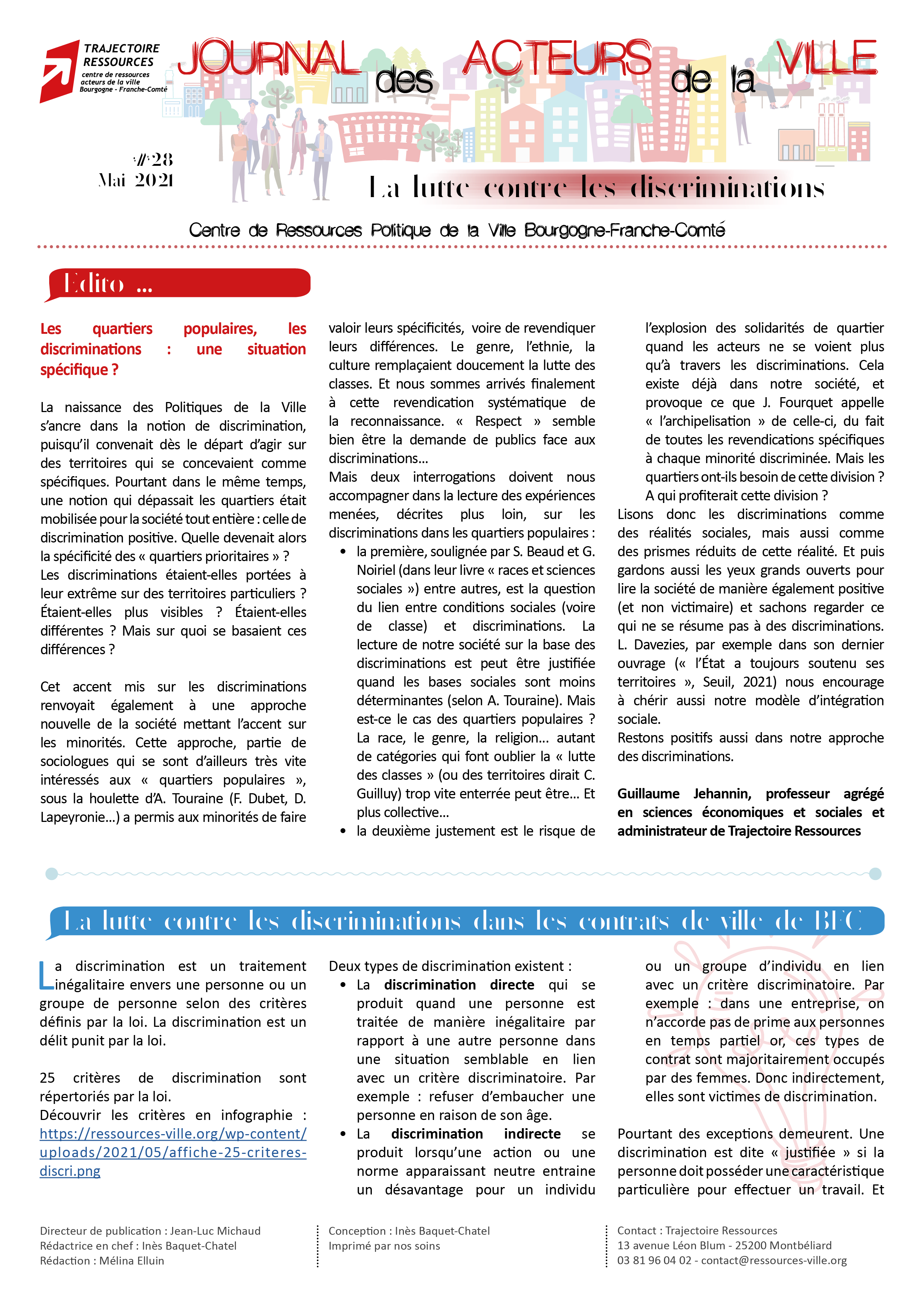 Journal des acteurs de la ville : lutte contre les discriminations